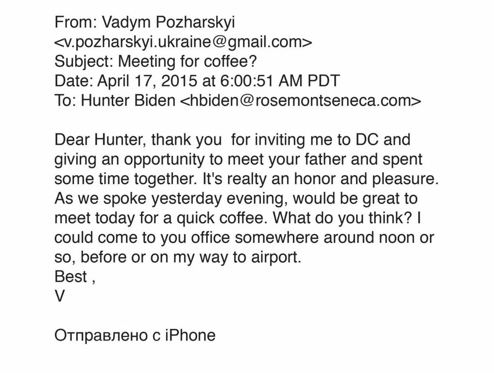 El correo electrónico de 'Smoking Gun' que parece mostrar que Biden conoció a Vadym